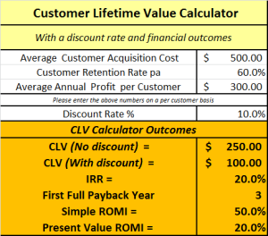 financial metrics on the free online clv calculator